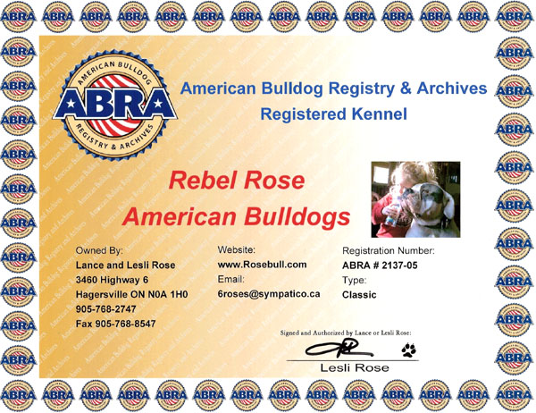 Kennel Registration Certificate